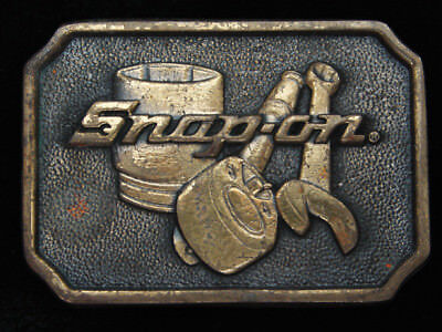 QF13119 VINTAGE 1970s **SNAP-ON TOOLS** COMPANY SOLID BRASS BTS BELT BUCKLE