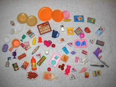 HUGE Lot Of Barbie & Doll House Miniature Food, Dishes, Kitchen, Accessories+VTG