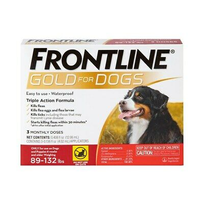 Frontline Plus Dogs 89-132 pounds 3 Pack Free Shipping