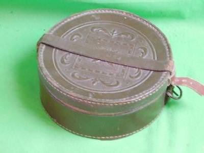 Vintage leather barrister's wig case hat cap box