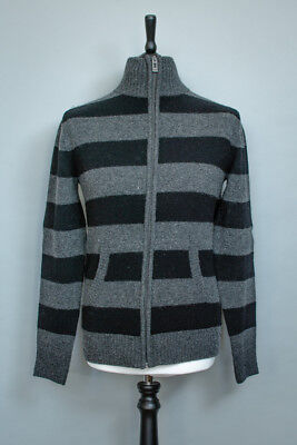 Vintage Grey Knitted Wool Zipped Cardigan Pullover Sweater Men's Small 34 36