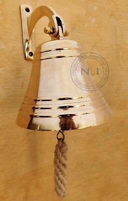 Solid Brass Wall Hanging Ship Bell~Nautical Brass Door Bell Home Decor