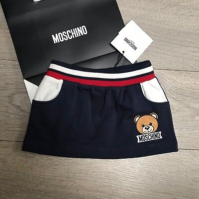 NEW Super cumfy MOSCHINO Skirt 3-6m Baby Girls Navy sport 100% Genuine BNWT