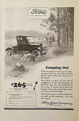 1924 Original Vintage Ford Motor Car Camping Out Print Ad