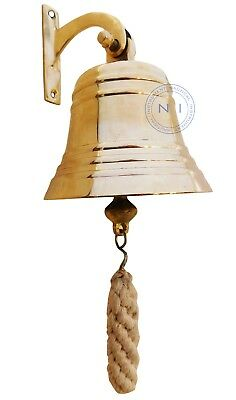 "Vintage Maritime Brass Ship Bell wall mounted bracket 4"" Nautical Home Decor"
