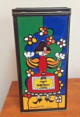 Creme De Grand Marnier Decorative Collector Tin 1990 Romero Britto Design