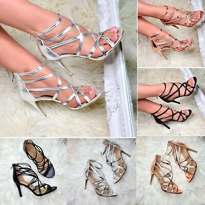 Ladies Strappy Heeled Sandals High Heel Metallic Shoes Open Toe Party Heels Size