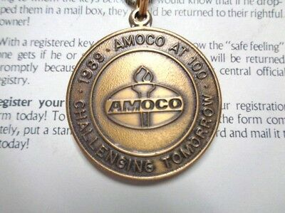 Nos Vintage Amoco Oil Keychain Key Tag Commemorating Centennial 1989-1990