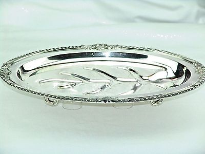 """Bristol Silver Footed Oval Meat Tray W/tree Well  #28 Gadroon Rim Ornate  16"""" L"""