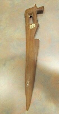 Vintage Primitive Wooden Rhino Letter Opener - Hand Carved -  Made in Kenya