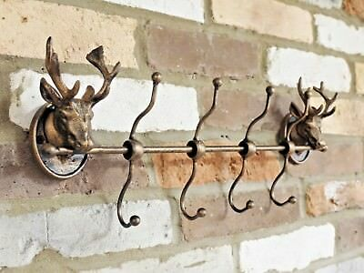 Rustic Brown & Bronze Metal Wall Mounted Double Stag's Head Multiple Coat Hooks
