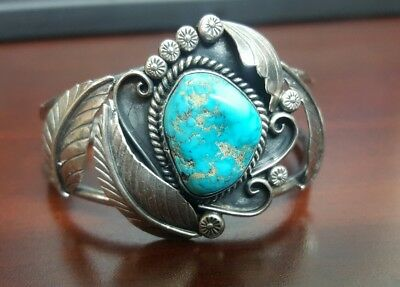 Old Pawn Jameson Lee Navajo Sterling Silver Turquoise Cuff Bracelet