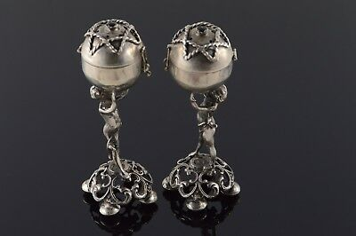800 Fine Silver 18th Century Russian Judaica Spice / Salt & Pepper - Proof Mark