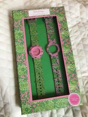 Lilly Pulitzer Pink And Green Turtle Interchangeable Watch Set New
