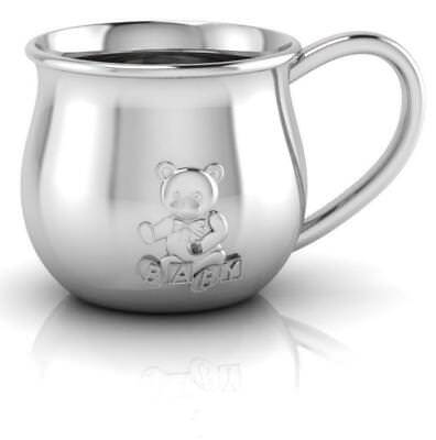 Sterling Silver Teddy Embossed Baby Cup by Krysaliis