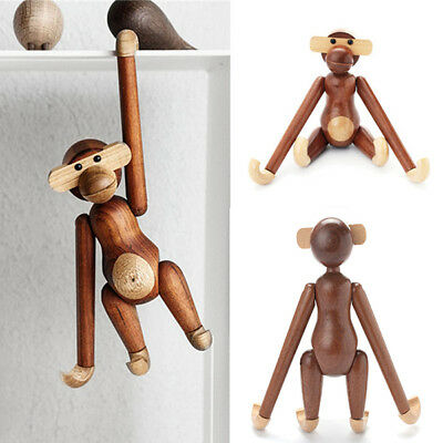 Wood Monkey Action Figure Denmark Design Animal Doll Teak