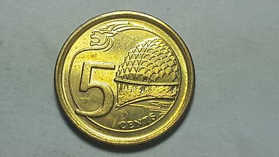 2013 Singapore 5 Cents Lion-head motif, and the Esplanade theatre Uncirculated