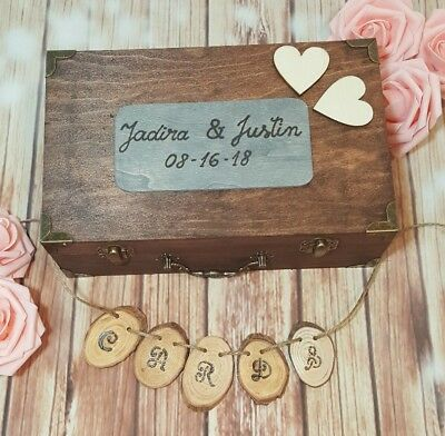 RUSTIC WEDDING CARD Box With Cards Banner Wedding Envelope Box ...