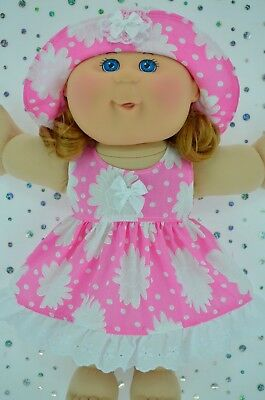 """Play n Wear Doll Clothes For 14"""" Cabbage Patch PINK/WHITE FLOWER DRESS~HAT"""