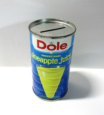 Vintage Promotional Dole Pineapple Juice Tin Coin Advertising Piggy Bank