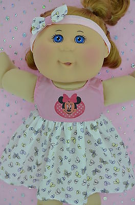 "Play n Wear Doll Clothes To Fit 14"" Cabbage Patch PINK/BUTTERFLY DRESS~HEADBAND"