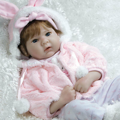 "Paradise Galleries Realistic Reborn Doll in Silicone Vinyl ""Snow Bunny"", 19 inch"