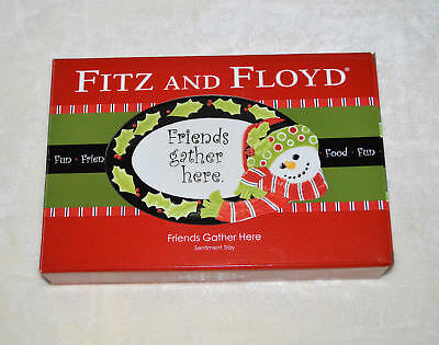 "Fitz & Floyd ""Friends Gather Here"" Sentiment Serving Tray Dish Snowman NIB"