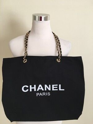 Chanel Shopper Canvas Tote Bag Gold Chain Beauty VIP Gift Beach Travel Bag