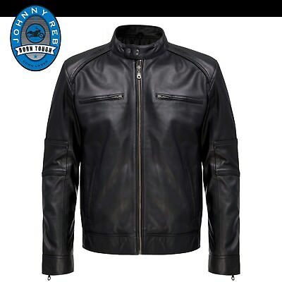 Genuine Johnny Reb Men's 'Buckets Way' Motorcycle Leather Jacket -  S - 5XL