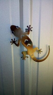 Gecko Lizard Garden Wall Art Accent Piece Indoor Outdoor Decor Metal Laser Cut