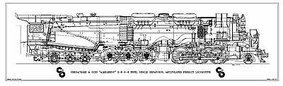 "Chesapeake & Ohio ""Allegheny"" 2-6-6-6 Type Locomotive Drawing - Side View"