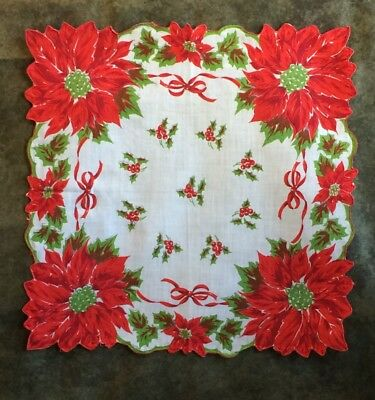 Lot of 3 Vintage Christmas Handkerchiefs, Hanky; Large and Small Poinsettias