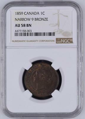 1859 Canada one cent, narrow 9, NGC AU58 BN