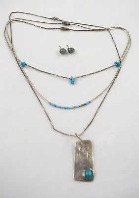 Lot Of Native American Jewelry Necklaces Earrings Sterling Silver Turquoise
