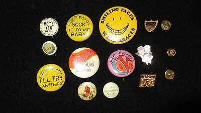 Vintage LOT OF 12 Hippy-Sippy Says,WHITEHEAD, AND MORE Advertising Pin