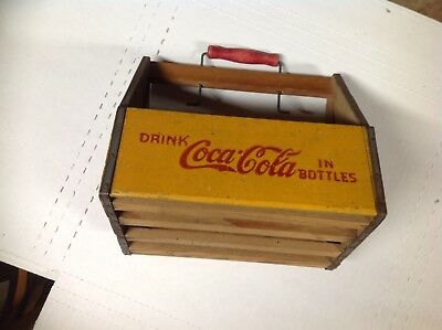Vintage Coca Cola Wooden Wood Carrier Carton Red Handle