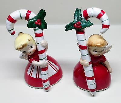 Vintage~1956 NAPCO Ceramic 2 ANGEL BELLS with CANDY CANES~Hand Painted Figurines