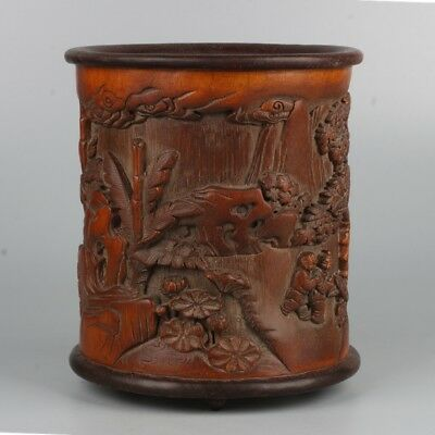 Chinese Exquisite Hand-carved Children play carving bamboo Pen holder