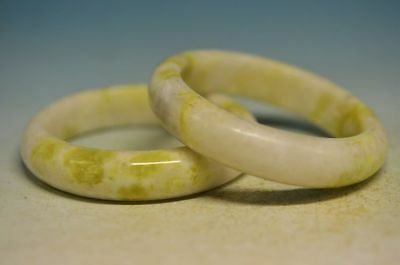 Excellent Chinese natural jade Carved beautiful A pair jade bracelet s07