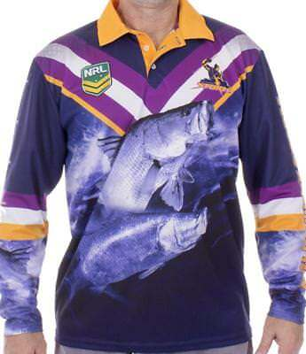 NRL Long Sleeve Fishing Polo Tee Shirt - Melbourne Storm - Adults Youth - Fish