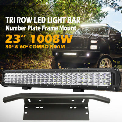 23inch 1008W TRIPLE ROW LED Light Bar + Number Plate Frame Mount Bracket License