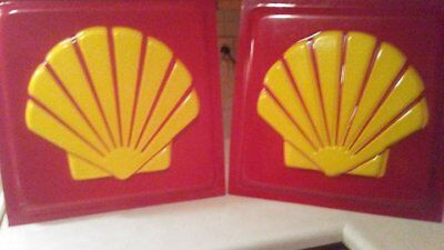 """Hard Plastic 19""""  Square Shell Logo Gas Station Sign NEVER USED red and yellow"""