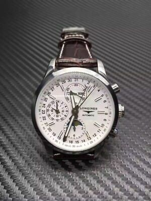 Preowned authentic w/o wored be4 box Longines men's white dial brown strap watch
