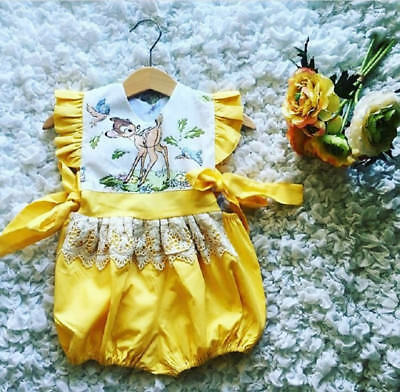 UK Stock Summer Newborn Baby Girls Fairy Lace Romper Jumpsuit Outfit Clothes