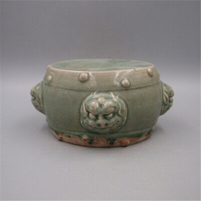Chinese Old Yaozhou Kiln Celadon Carved Flower Pattern Beast-Ear Porcelain Drum