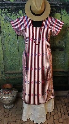Hand Woven Huipil Red & White Striped San Juan Colorado Oaxaca Mexico Santa Fe