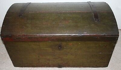 American Colonial Dome Top Wooden Chest Trunk Box Circa 1780-1820 VERY GOOD COND