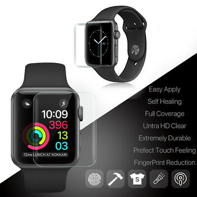 2 X 42mm Full HD Screen Protector Film For Apple Watch Series 1 2 3 Water Resist