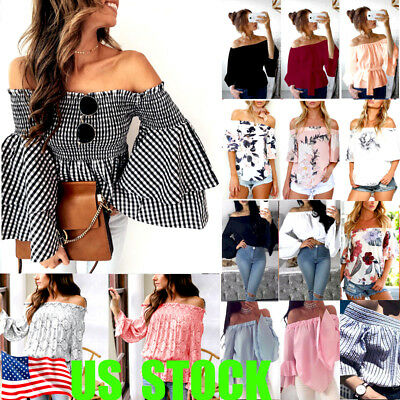 Summer Women's Off Shoulder Tops Short Sleeve Shirt Casual Blouse Loose T-shirt