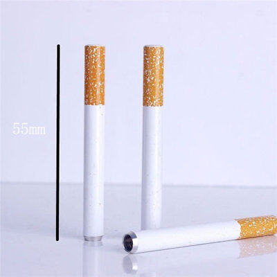 2pcs 55mm Metal Dugout Smoking Cigarette Style Shaped 1Hitter One Hitter Pipe QE
